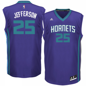 Men's Charlotte Hornets Al Jefferson adidas Purple Road Replica Jersey