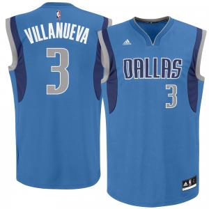 Mens Dallas Mavericks Charlie Villanueva adidas Royal Blue Road Replica Jersey