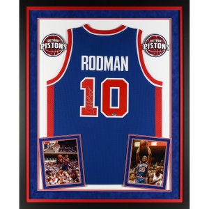 Dennis Rodman Detroit Pistons Fanatics Authentic Deluxe Framed Autographed Blue Adidas Jersey with The Worm Inscription