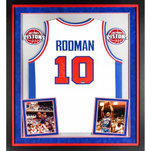 Dennis Rodman Detroit Pistons Fanatics Authentic Deluxe Framed Autographed White Adidas Jersey with HOF 2011 Inscription