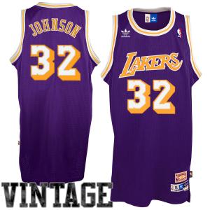adidas Magic Johnson Los Angeles Lakers Youth Hardwood Classics Retired Player Swingman Road Jersey - Purple