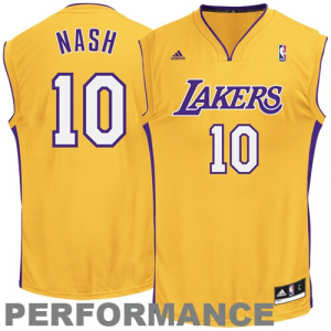 Steve Nash Los Angeles Lakers adidas Replica Home Jersey - Gold Home