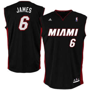 LeBron James Miami Heat adidas Replica Road Jersey - Black