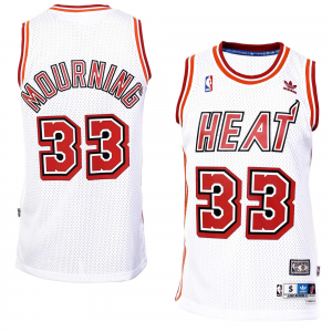 Alonzo Mourning Miami Heat adidas Hardwood Classics Swingman Jersey - White