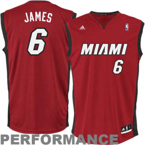 LeBron James Miami Heat adidas Replica Alternate Jersey - Red