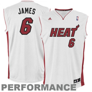 LeBron James Miami Heat adidas Replica Home Jersey - White