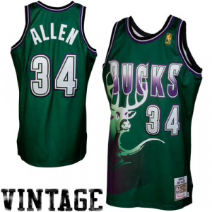 Mitchell & Ness Ray Allen Milwaukee Bucks 1996-1997 Hardwood Classics Throwback Authentic Jersey - Green