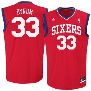 Andrew Bynum Philadelphia 76ers adidas Replica Road Jersey - Red