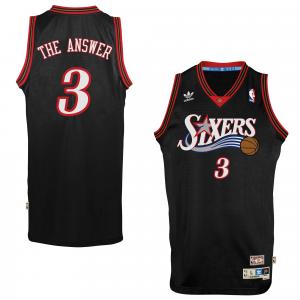 adidas Allen Iverson Philadelphia 76ers The Answer Soul Swingman Nickname Jersey - Black