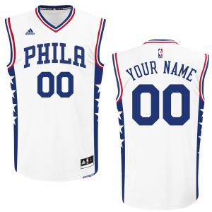 Philadelphia 76ers adidas 2015 Custom Replica Home Jersey - White