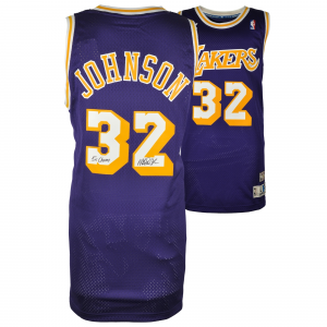 Magic Johnson Los Angeles Lakers Fanatics Authentic Autographed Adidas Swingman Purple Jersey with 5X NBA Champs Inscription