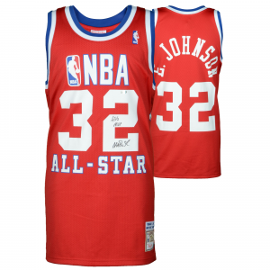 Magic Johnson Los Angeles Lakers Fanatics Authentic Autographed 1990 All Star Game Mitchell & Ness Red Jersey with ASG MVP Inscription
