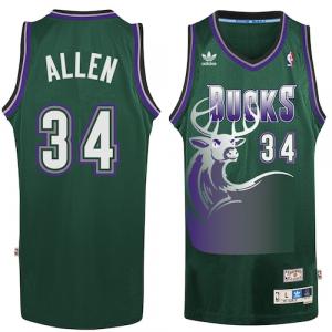 Ray Allen Milwaukee Bucks adidas Hardwood Classic Swingman Jersey - Hunter Green