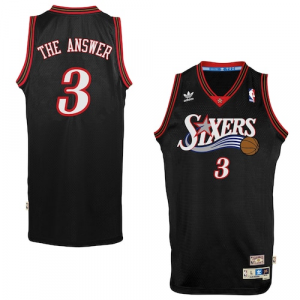 adidas Allen Iverson Philadelphia 76ers The Answer Soul Swingman Nickname Jersey - Black