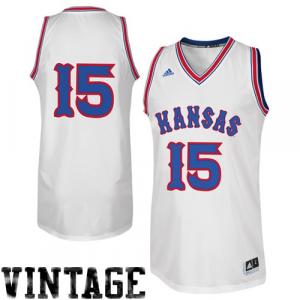 adidas Kansas Jayhawks #15 Throwback Point Guard Basketball Jersey - White