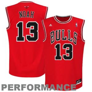 Joakim Noah Chicago Bulls adidas Replica Road Jersey - Red
