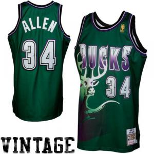Mitchell & Ness Ray Allen Milwaukee Bucks 1996-1997 Hardwood Classics Throwback Authentic Jersey - Green