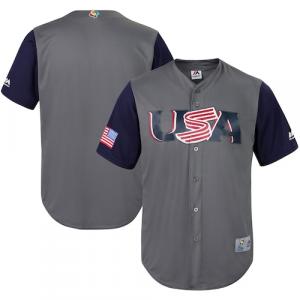 USA Baseball Majestic Youth 2017 World Baseball Classic Cool Base Replica Team Jersey - Gray/Navy