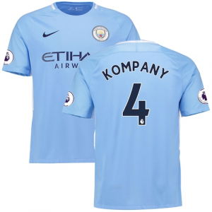 Vincent Kompany Manchester City Nike 2017/18 Home Replica Patch Jersey - Blue
