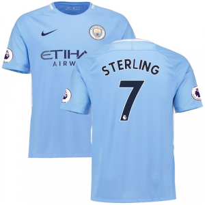 Raheem Sterling Manchester City Nike 2017/18 Home Replica Patch Jersey - Blue