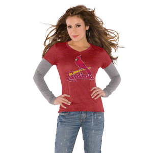 Touch by Alyssa Milano St. Louis Cardinals Red Women's Primary Logo Tri-Blend Long Sleeve Layered T-Shirt