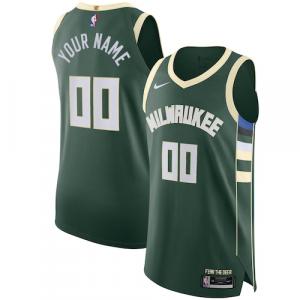 Milwaukee Bucks Nike Authentic Custom Jersey Green - Icon Edition