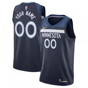 Minnesota Timberwolves Nike Swingman Custom Jersey Navy - Icon Edition