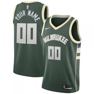 Milwaukee Bucks Nike Swingman Custom Jersey Green - Icon Edition