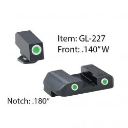 AMERIGLO Glock Pro Style Glk 17-39 Green Tritium with White Outline Front and Rear Sights (GL-227)