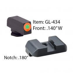 AMERIGLO Glock Hackathorn Green Tritium Orange Outline Front and Black Rear Sights (GL-434)