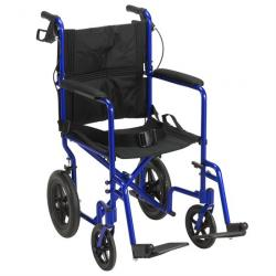 Drive Medical Lightweight Expedition Transport Wheelchair with Hand Brakes - Blue