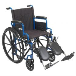 Drive Medical Blue Streak Wheelchair with Flip Back Desk Arms and Elevated Legrests
