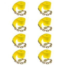 """8-Pack of 4"""" x 30' Heavy-Duty Winch Strap with Chain Anchor"""