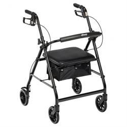 "Drive Medical Walker Rollator with 6"" Wheels - Black"