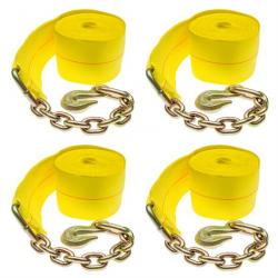 "4-Pack of 4"" x 30' Heavy-Duty Winch Strap with Chain Anchor"