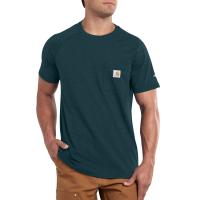 Carhartt | Men's 100410 Force Short Sleeve Pocket T-Shirt | Ink Green | Medium Regular | Relaxed Fit | 65% Cotton / 35% Polyester | 5.75 Ounce | Dungarees
