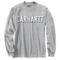 Carhartt Mens 104891 Relaxed Fit Heavyweight Long-Sleeve Block Logo Graphic T-Shirt - Heather Gray 3X-Large Regular
