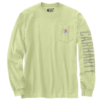 Carhartt Mens 105041 Relaxed Fit Heavyweight Long-Sleeve Pocket Logo Graphic T-Shirt - Pastel Lime 4X-Large Regular