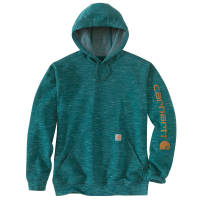 Carhartt Mens K288 Midweight Logo Sleeve Hooded Sweatshirt - Tidal Space Dye 2X-Large Regular