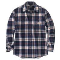 Carhartt Mens 105078 Loose Fit Heavyweight Flannel Long-Sleeve Plaid Shirt - Navy X-Large Tall