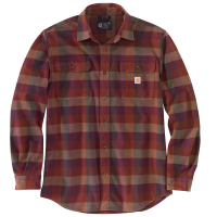 Carhartt Mens 105078 Loose Fit Heavyweight Flannel Long-Sleeve Plaid Shirt - Mineral Red 2X-Large Tall