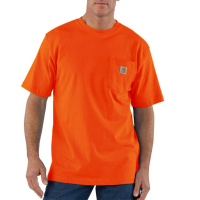 Carhartt | Men's K87 Factory 2nd Short Sleeve Pocket T-Shirt | Orange | Large Regular | Original Fit | 100% Cotton | 6.75 Ounce | Dungarees