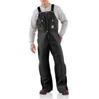 Carhartt Mens R38 Factory 2nd Duck Zip-to-Waist Bib Overall - Quilt Lined - Black 48W x 28L