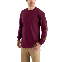 Carhartt | Men's K231 Long Sleeve Logo T-Shirt | Port | X-Large Regular | Original Fit | 100% Cotton | 6.75 Ounce | Dungarees