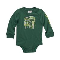 Carhartt  CA6210 Long Sleeve Crewneck Graphic Bodysuit - Boys  - Hunter Green 3 Months
