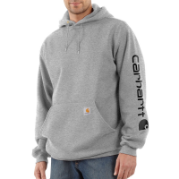 Carhartt Mens K288 Midweight Logo Sleeve Hooded Sweatshirt - Heather Gray/Black X-Small Regular