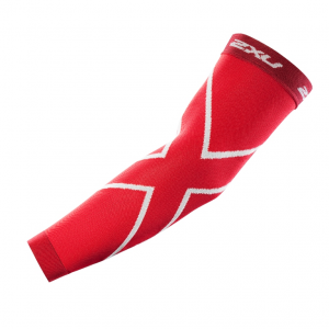 Image of 2XU Recovery Compression Arm Sleeve Size XS Color Red/Red