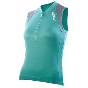 Image of 2XU Ice X Sleeveless Cycling Jersey - Women's Size XL Color Spectrum/Charcoal