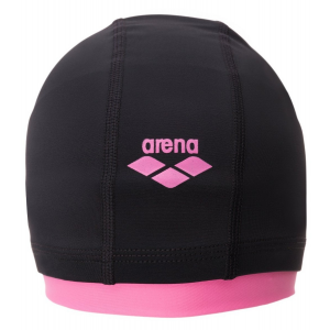 Image of Arena Smart Jr Long Hair Nylon Swim Cap - Kid's Size OneSize Color Black/Pinkshake
