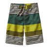 "Patagonia Wavefarer 10"" Boardshort Boy's Size 8 Color FitzStripe/WillowHerbGreen"
